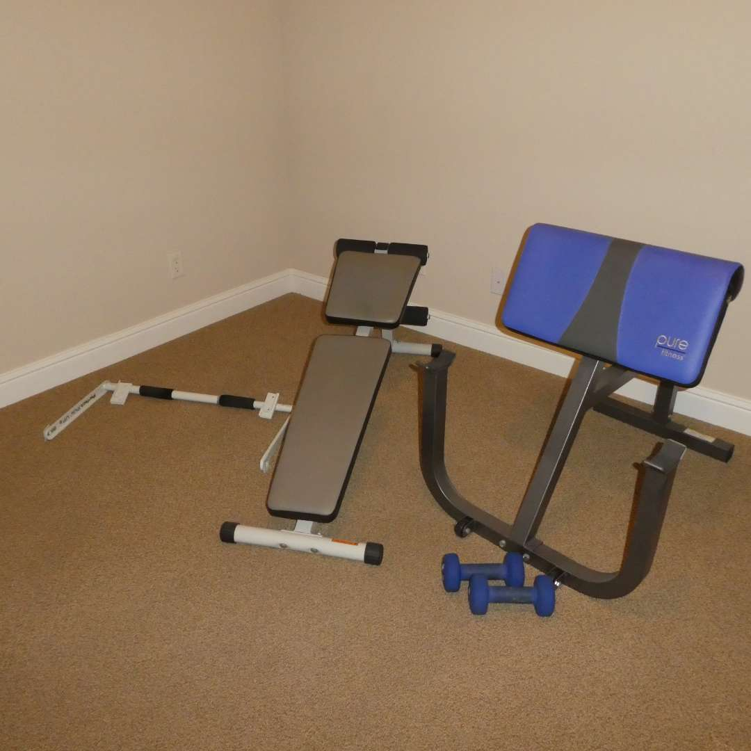 Lot # 34 - Pure Fitness Preacher Curl Bench, Weider Dumbbell Bench/ Slant Board, Perfect Pull Up Bar and 10Lb. Dumbbells