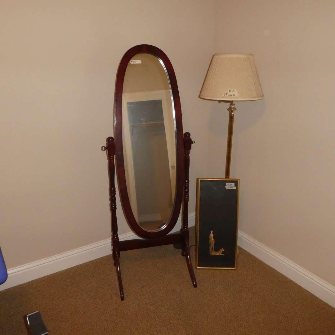 Lot # 35 - Cheval Mirror, Framed Silk Art and Floor Lamp