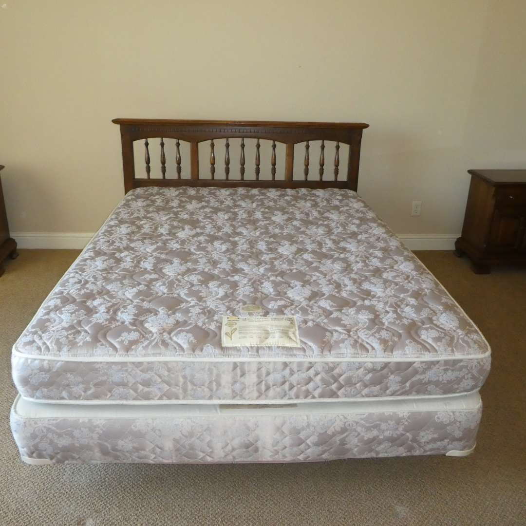 Lot # 43 - Queen Size Ethan Allen Headboard and Sears-O-Pedic Imperial Elite Mattress