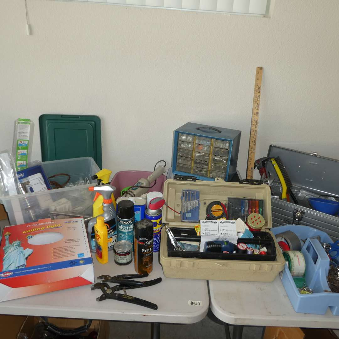 Lot # 60 - Lot of Assorted Tools, Hardware, Chemicals, Tool Box and More