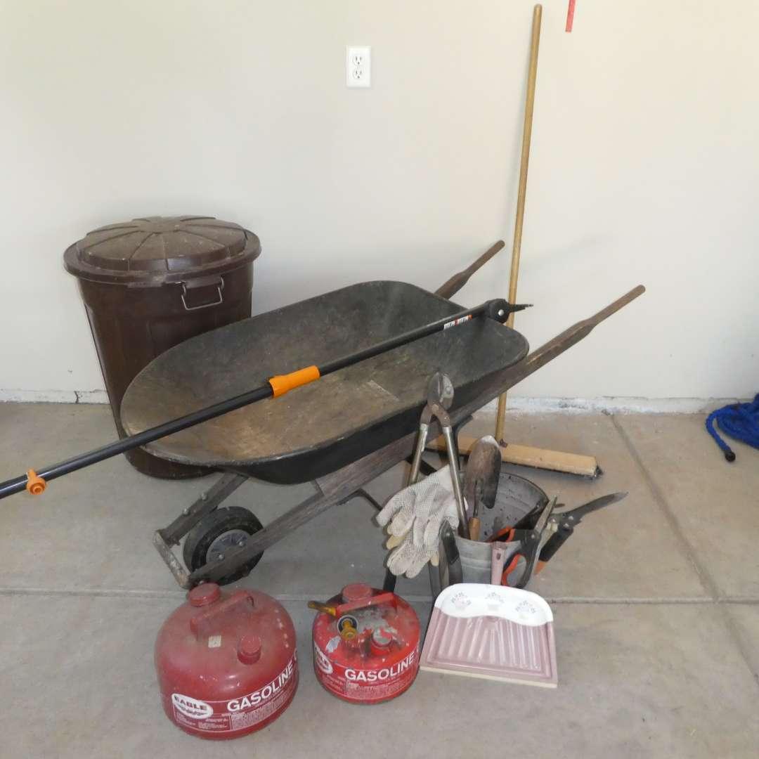 Lot # 62 - Yard Tools - Wheelbarrow, Trash Bin, Manual Pole Saw, Pruning Sheers and Gasoline Cans