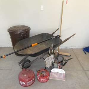 Auction Thumbnail for: Lot # 62 - Yard Tools - Wheelbarrow, Trash Bin, Manual Pole Saw, Pruning Sheers and Gasoline Cans