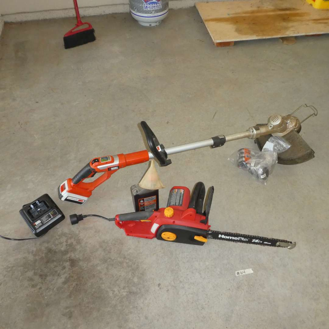 Lot # 64 - Electric Homelite Chainsaw and Chargeable Black & Decker Weed Eater