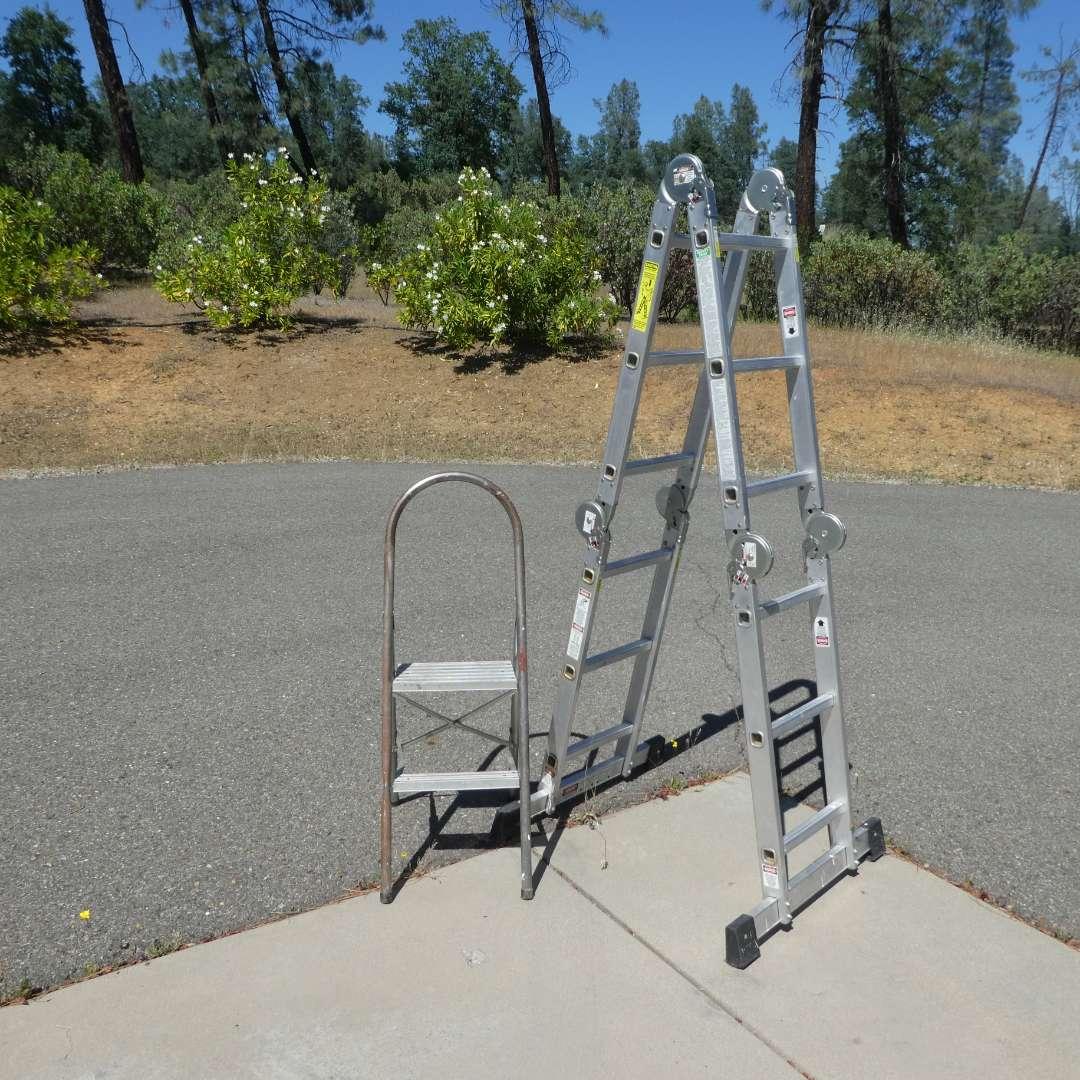 "Lot # 65 - 11'3"" Adjustable Tristar Products Ladder and Aluminum Step Ladder"