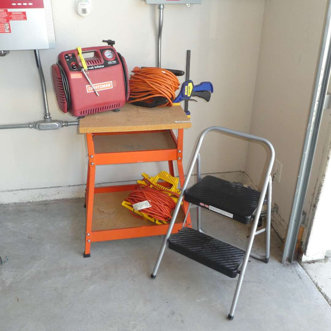 Lot # 71 - Craftsman 120v Inflator, Hirsh Work Station, Cosco Step Ladder and Two Large Extension Cords