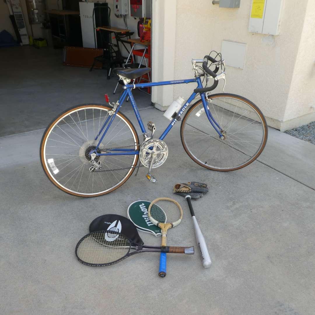 Lot # 72 - Free Spirit 12 Speed Road Bike, Tennis Rackets and Vintage Baseball Mitt