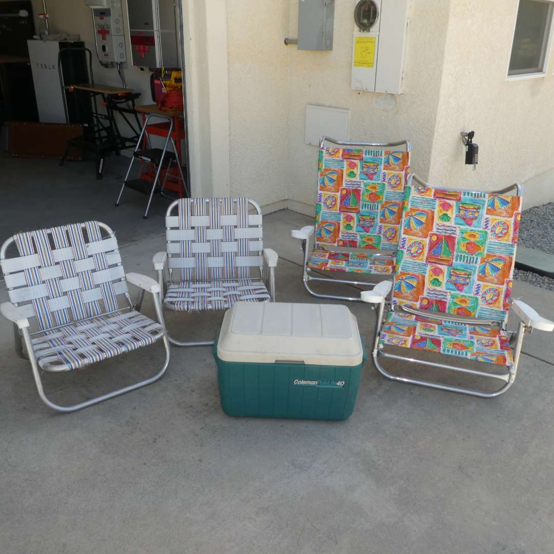 Lot # 73 - Coleman Cooler and Four Beach Chairs (Two Could Use New Strapping but still Very Sturdy)