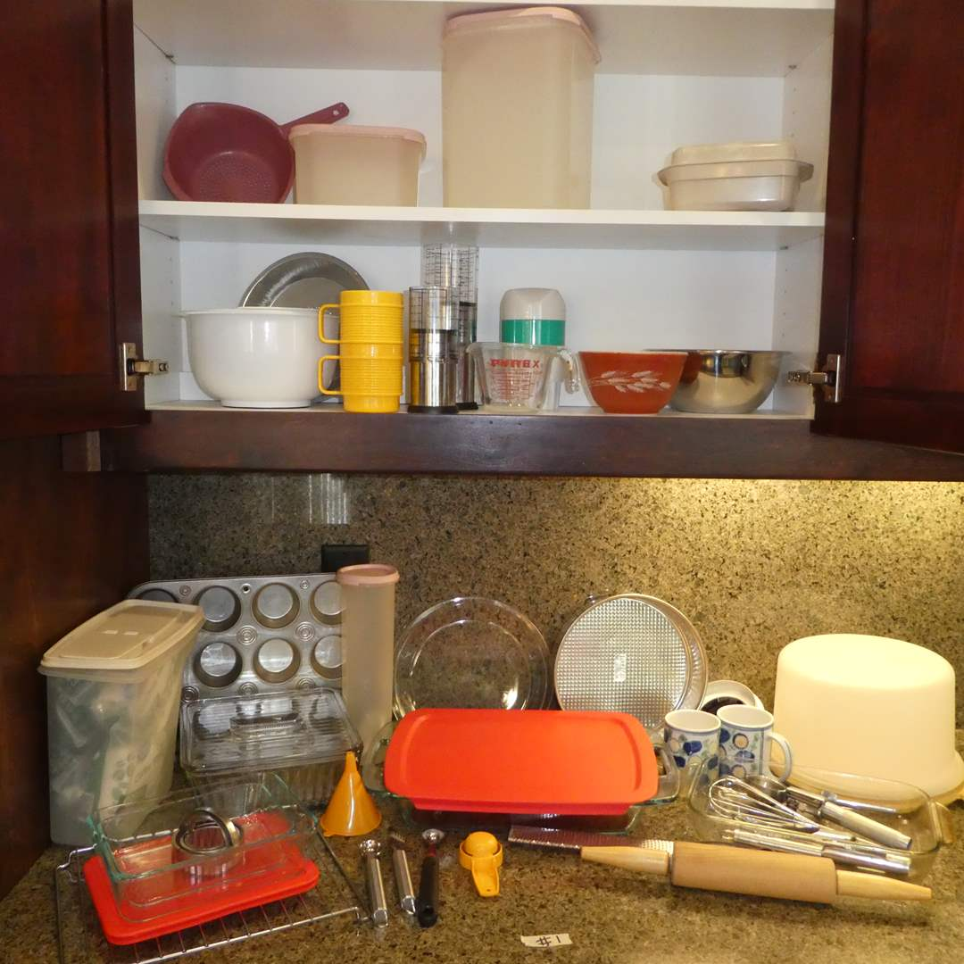 Lot # 1 - Kitchen Lot - Pyrex Baking Dishes, Vintage Tupperware,Toaster Oven, Baking Dishes, Nesting Bowls, Utensils and More