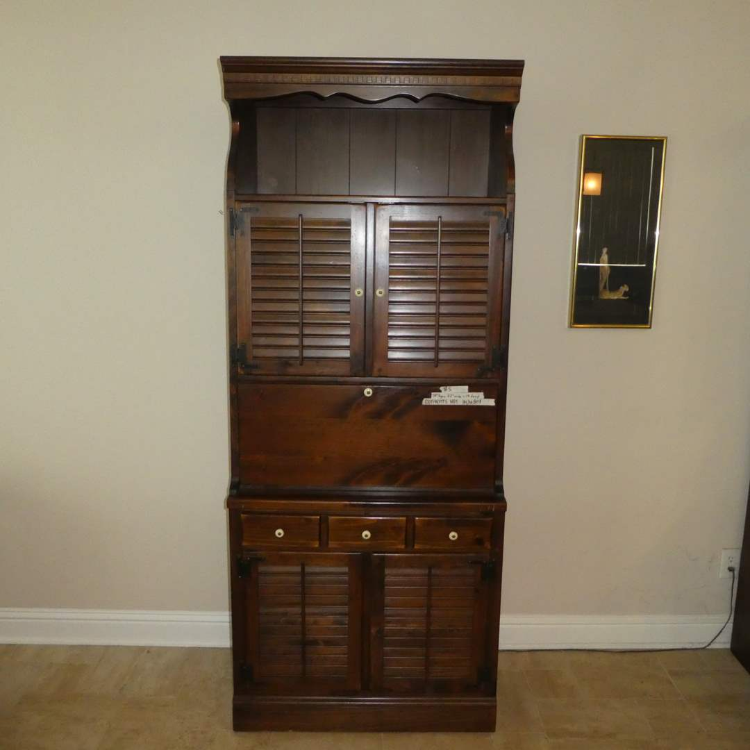 Lot # 5 - Vintage Ethan Allen Lighted Bar Cabinets with Shutter Doors (Contents Not Included)(Lots  5,6,7 Match)