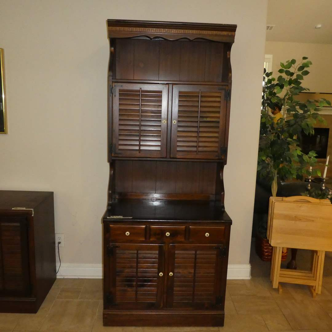 Lot # 7 - Tall Vintage Ethan Allen Shutter Door Cabinet (Lots  5,6,7 Match)(Dovetail Drawers)