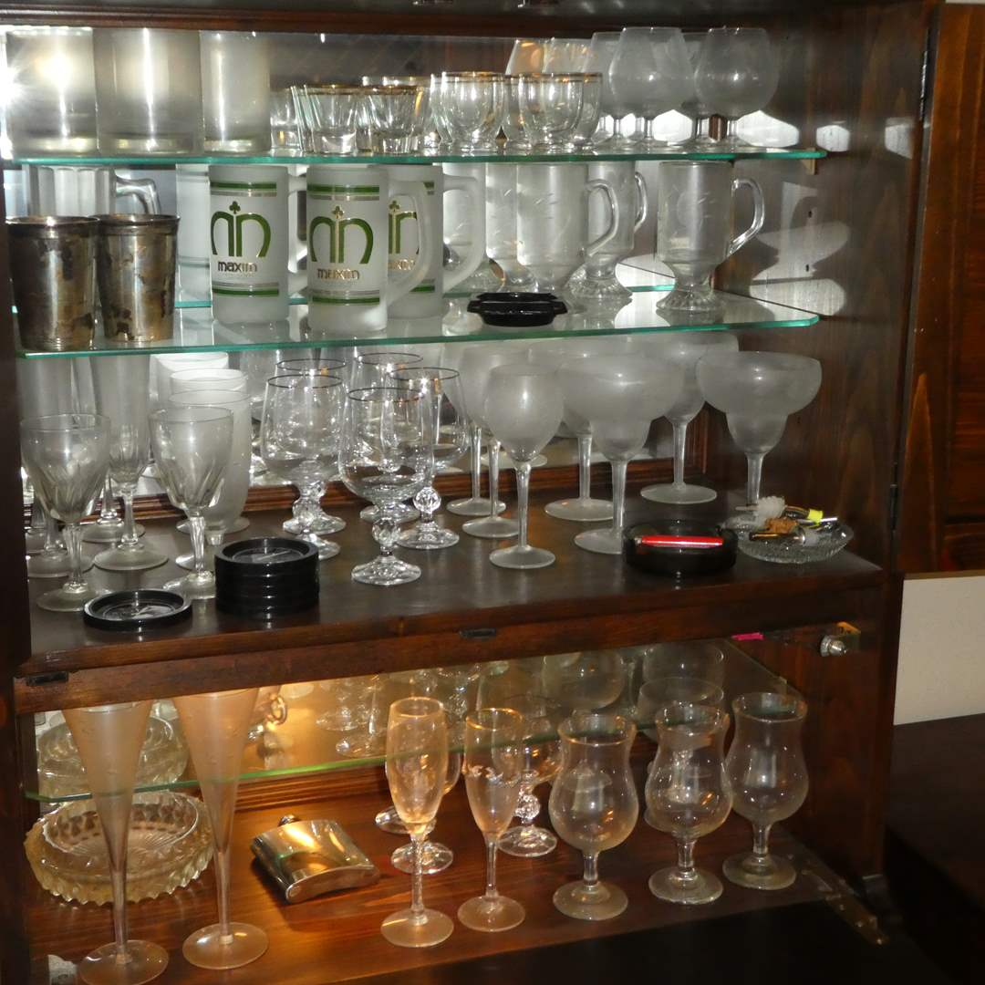 Lot # 8 - Bar Lot - Stem Ware, Whiskey Glass, Shot Glass, Ash Trays, Mugs and More