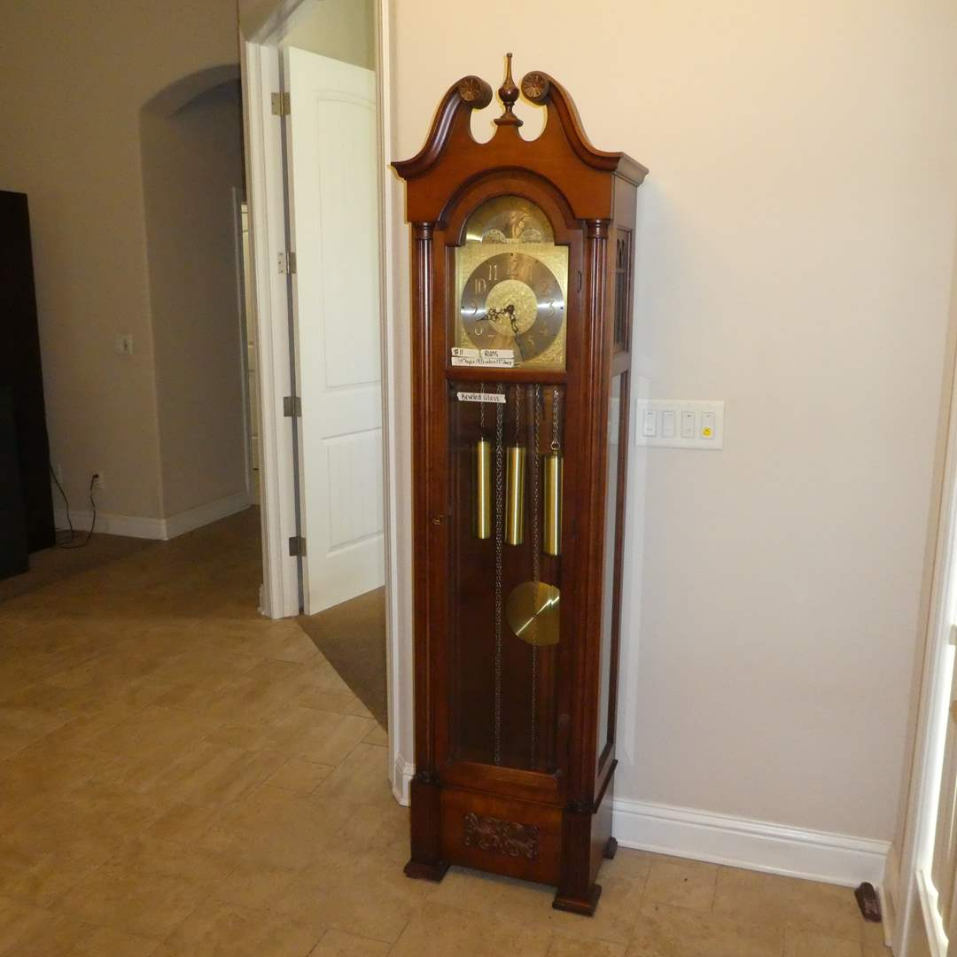 Lot # 11 - Colonial Of Zeeland Grandfather Clock Made In USA (Works) (main image)