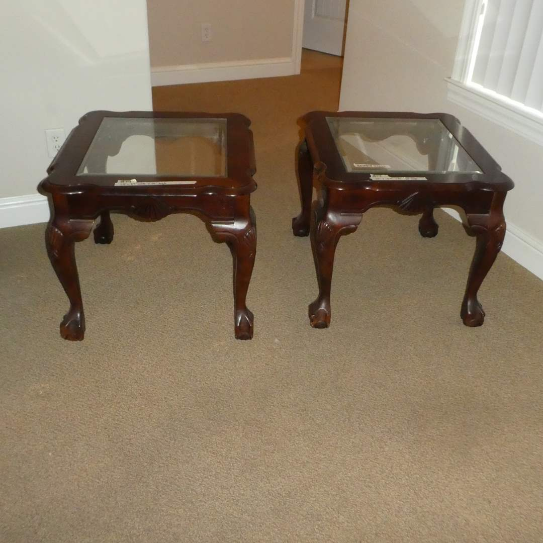 Lot # 14 - Two Side Solid Wood Claw Foot Tables w/ Beveled Glass Top