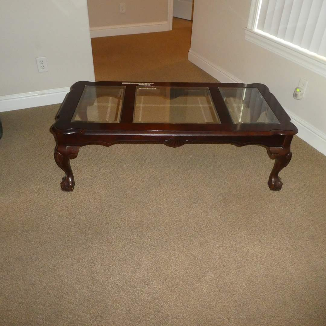 Lot # 15 - Solid Wood Clawfoot Coffee Table w/ Beveled Glass Top (main image)