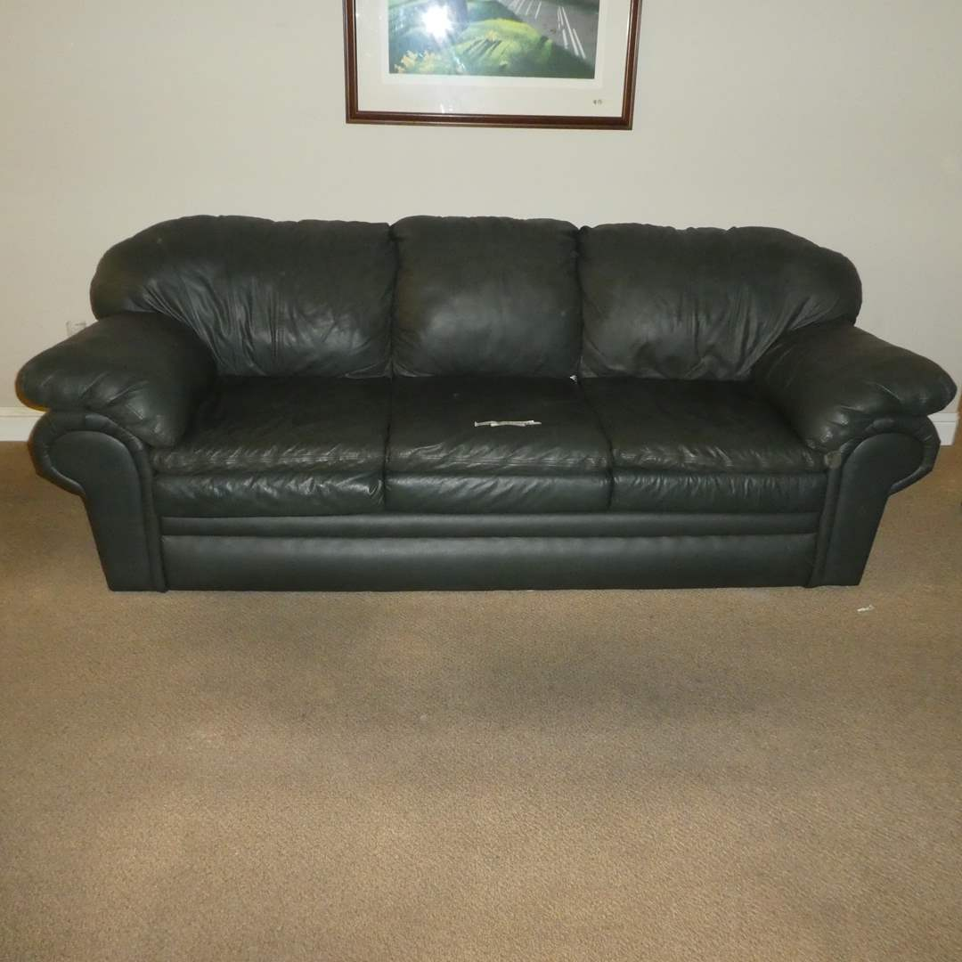 Lot # 16 - Green Leather Couch (In Good Condition,  (main image)