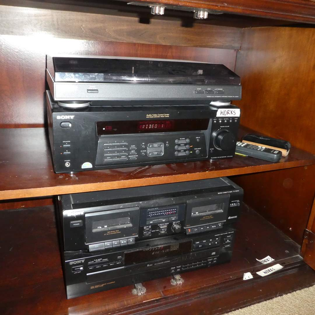 Lot # 19 -Sony- Turn Table System, Audio/Video Control Center, Stereo Cassette Deck and Compact Disc Player (All Work) (main image)