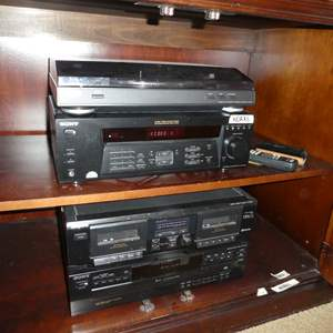Auction Thumbnail for: Lot # 19 -Sony- Turn Table System, Audio/Video Control Center, Stereo Cassette Deck and Compact Disc Player (All Work)