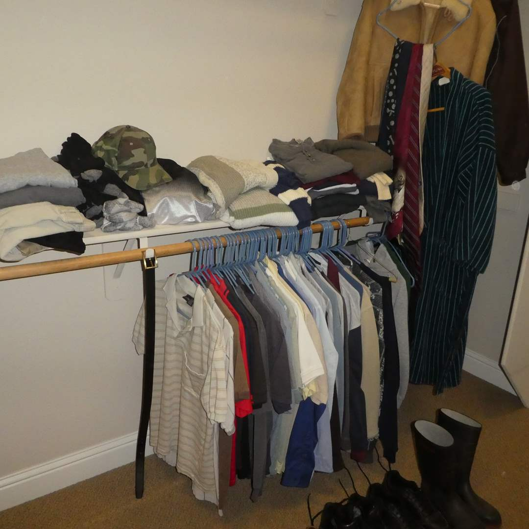 Lot # 45 - Lot of Mens Clothing - Sweaters, Shirts, Jackets (Size SM), Shoes (Size 8) and Ties (main image)