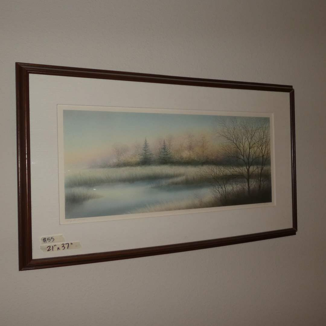 """Lot # 55 - Authentic Original Lithograph """"Along the Marsh"""" By Alanis (main image)"""