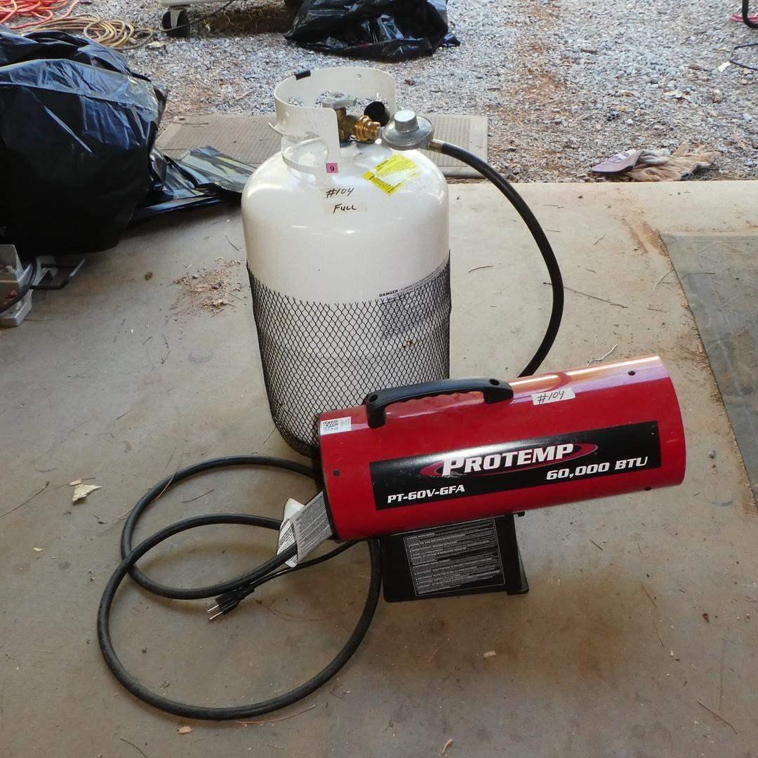 Lot # 104 - Protemp 60,000 BTU Propane Heater & Propane (Full)