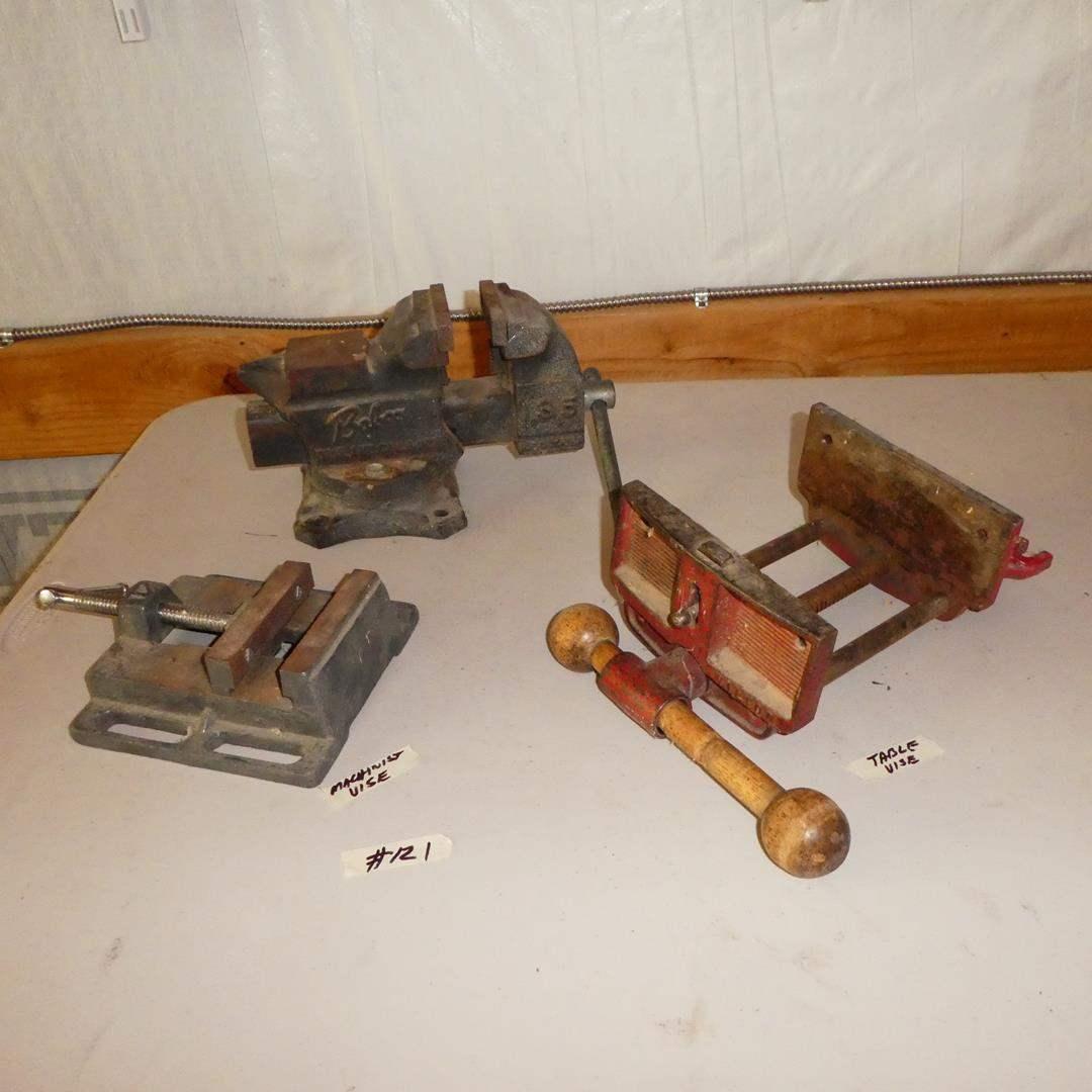 Lot # 121 - Machinist Vise, Table Vise & Bench Vise