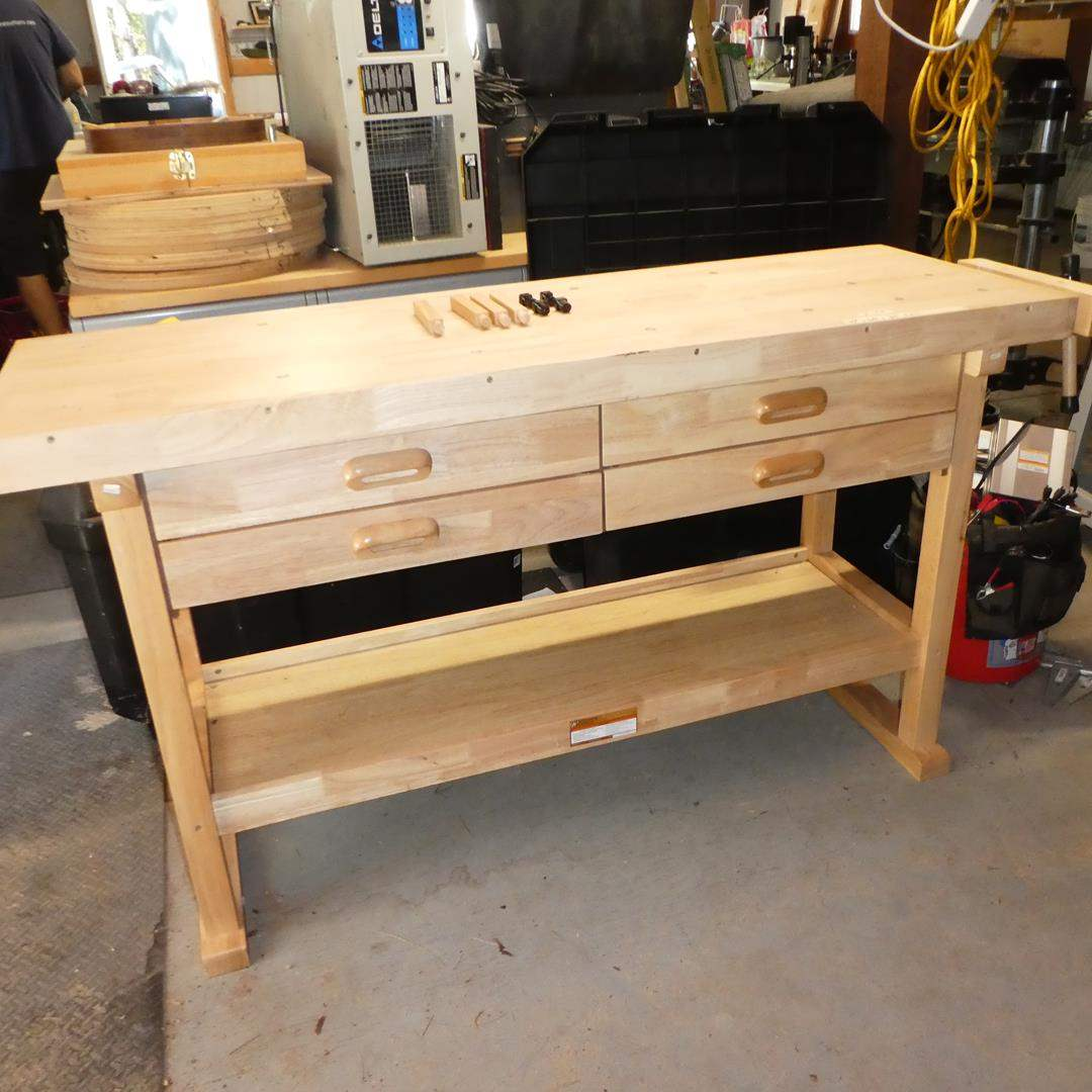 "Lot # 128 - Windsor Design 60"" 4 Drawer Hardwood Workbench"