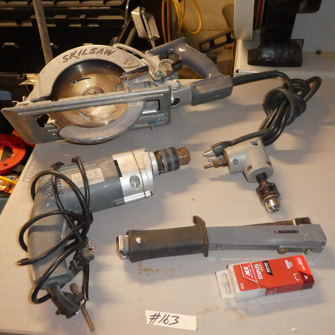 """Lot # 163 - ½"""" Heavy Duty Drill, Two Speed Angle Drive, Skilsaw & Stapler"""