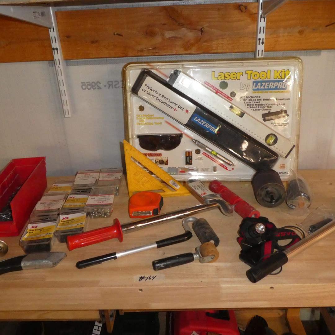 Lot # 164 - Hardware, Laser Tool Kit, Floor Rollers & More