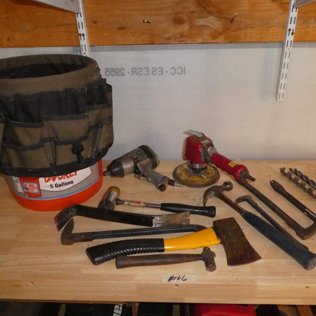 Lot # 166 - Tool Bag, Air Tools, Hammers & Crow Bars