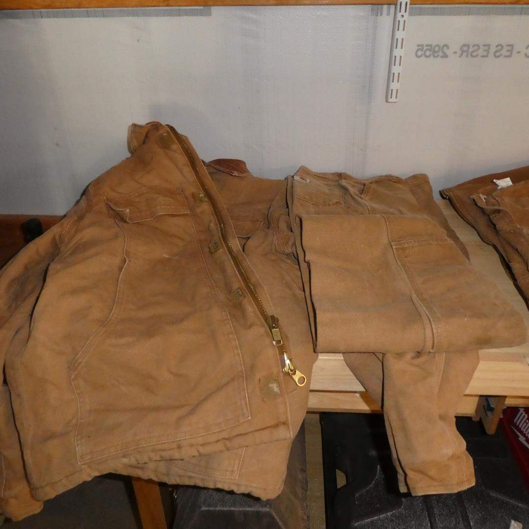 Lot # 169 - Men's Carhartt Jackets, Pants and Coveralls - See Pics For Condition & Sizes