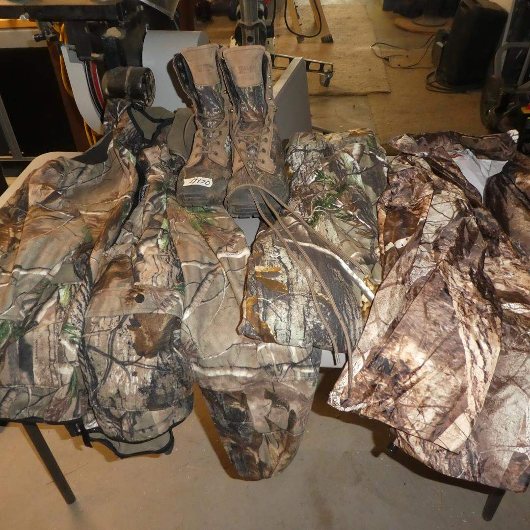 Lot # 170 - Men's Alpine Leather Camo Boots & Camo Hunting Gear - See Pics for Sizes (main image)