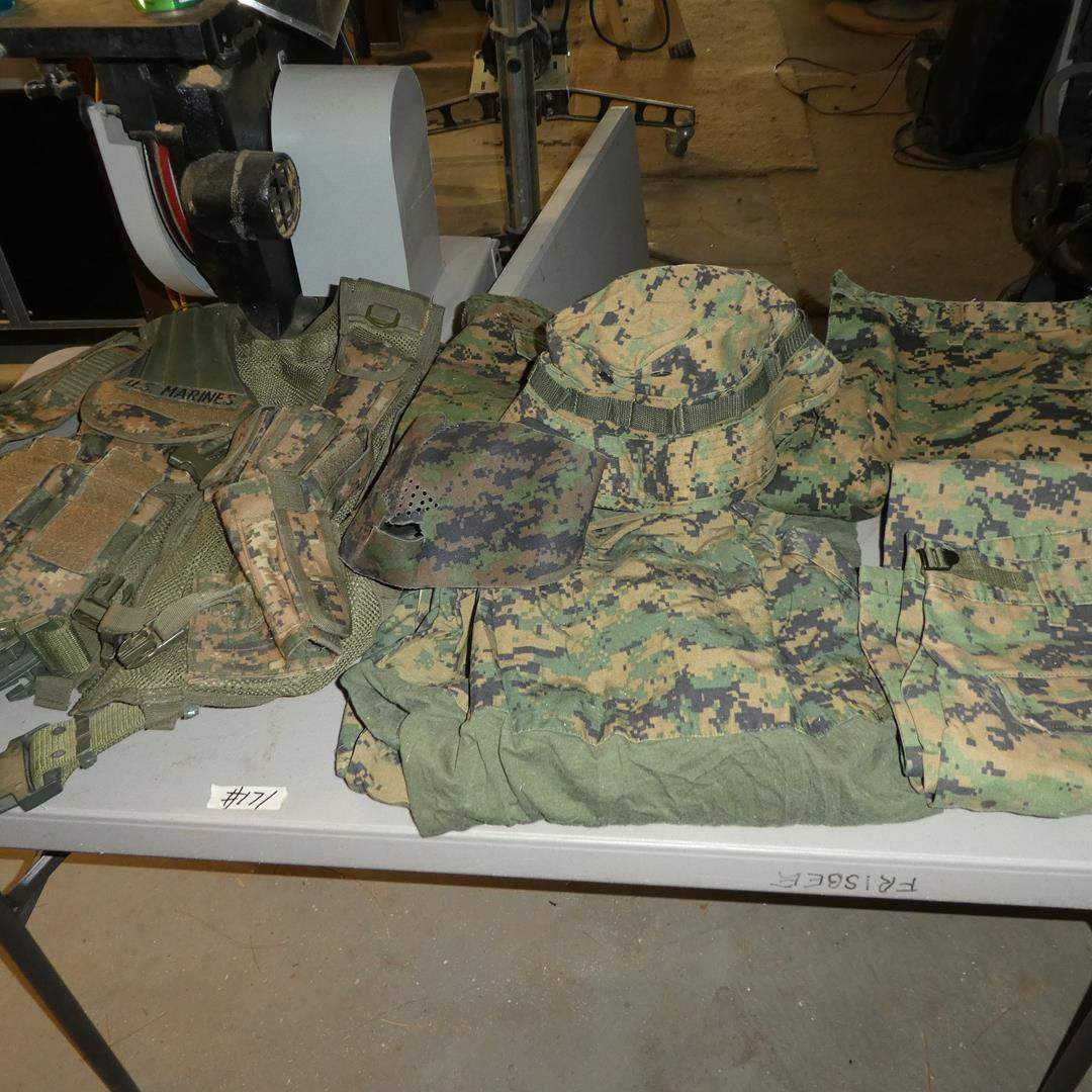 Lot # 171 - U.S. Marines Tactical Vest & Men's Camo Clothing - See pics for sizes