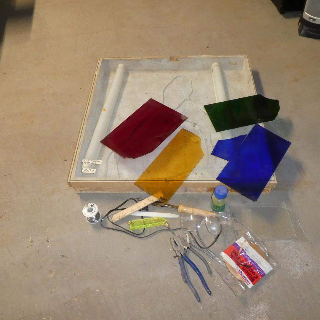 Lot # 179 - Stained Glass Light Box, Colored Glass & Tools