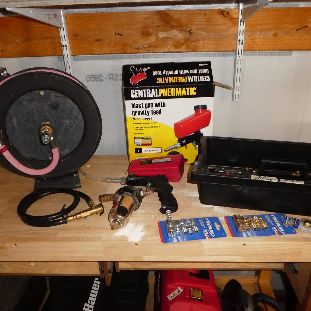 Lot # 154 - Retractable Air Hose Reel, Central Pneumatic Blast Gun & Air Fittings