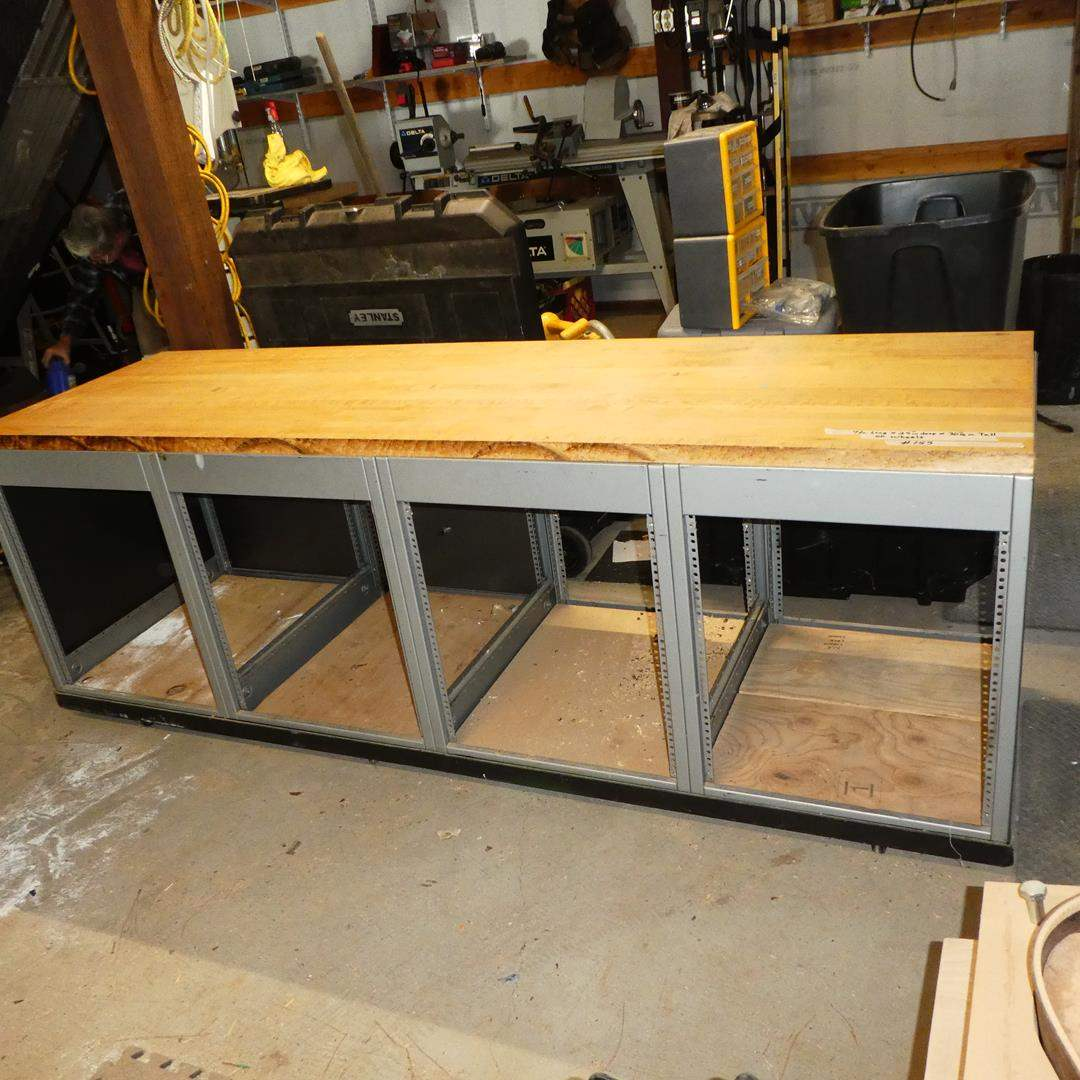 Lot # 155 - Work Bench on Wheels - Wood Top Metal Frame (main image)