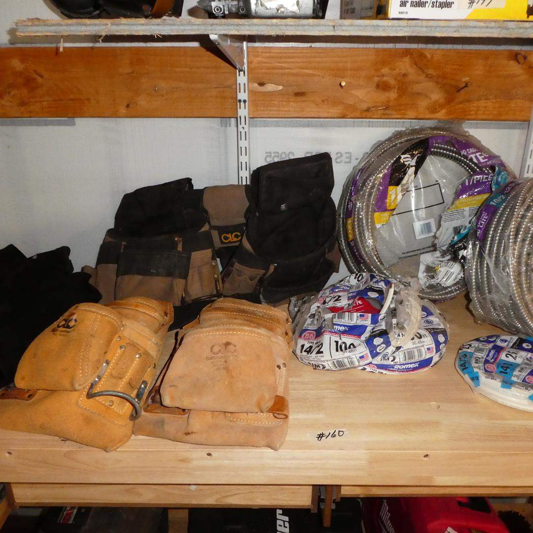 Lot # 160 - Carhartt Overalls, Tool Belts & Wire