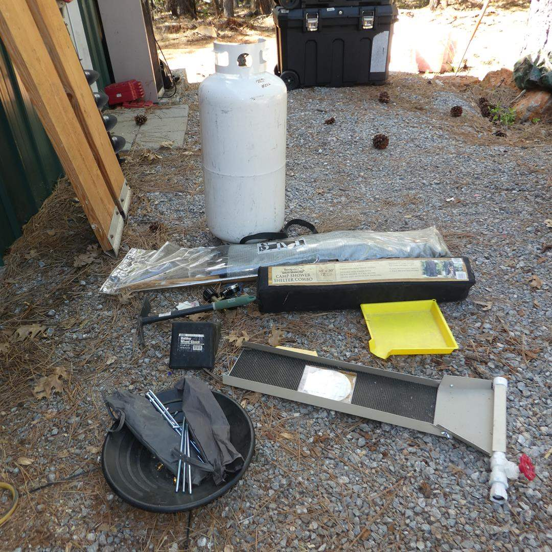 Lot # 226 - Gold Pan, Sluice Box, Camp Shower Shelter Combo, Sky Chair, Full 10 Gallon Propane Tank & Air Beds (main image)