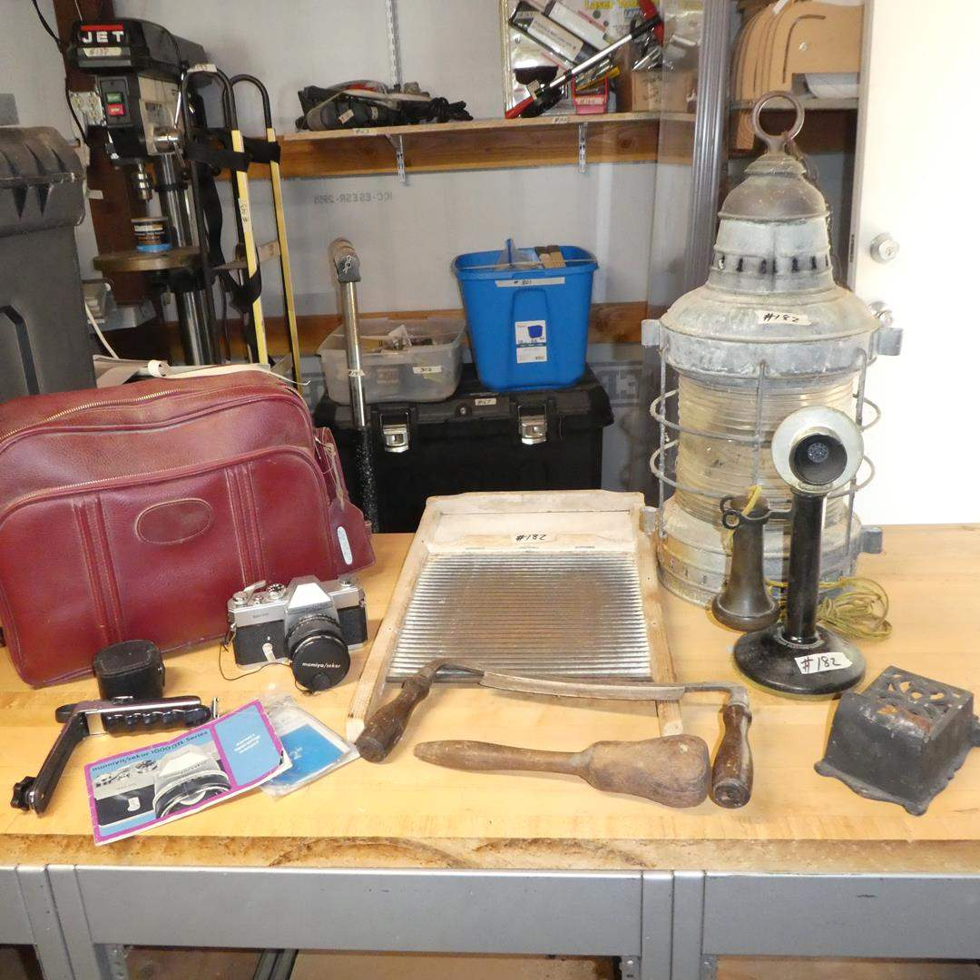 Lot # 182 - Vintage Ship Lantern, Old Tools, Cast Iron Match Holder, Candlestick Phone & Camera (main image)