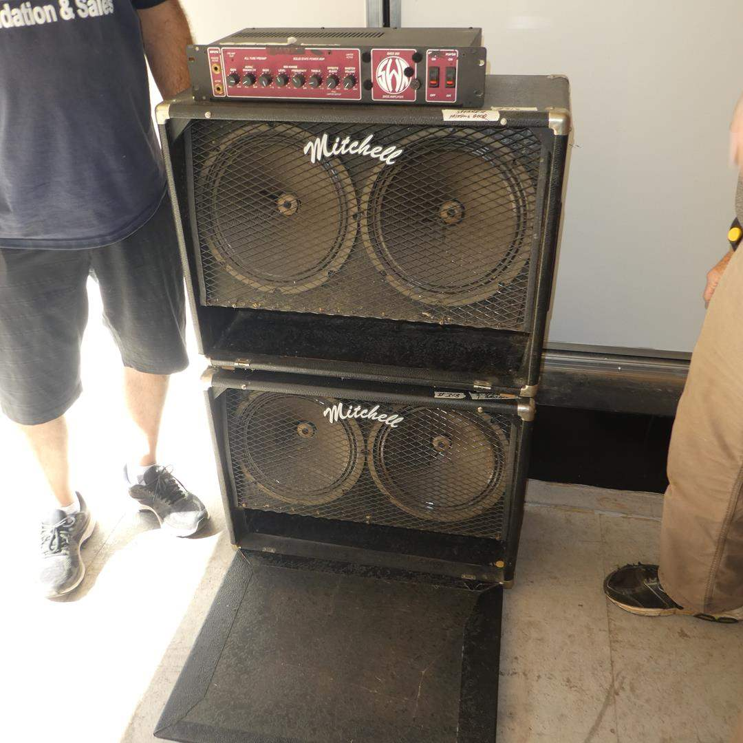 Lot # 318 - Pair Mitchell Cabinet Speakers & SWR Bass Amplifier