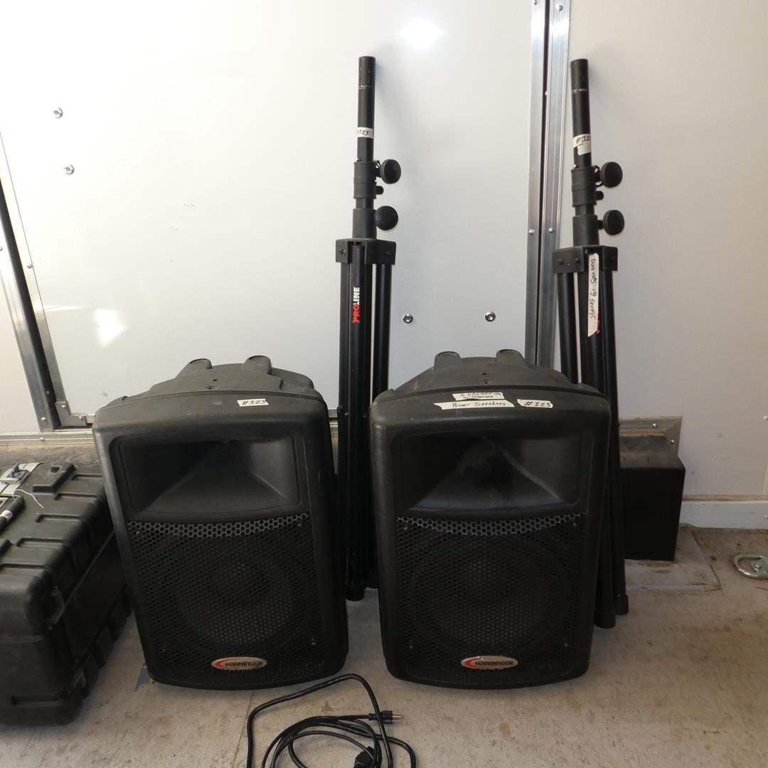 Lot # 323 - Pair Harbinger APS 12 Active Powered Speakers w/Stands