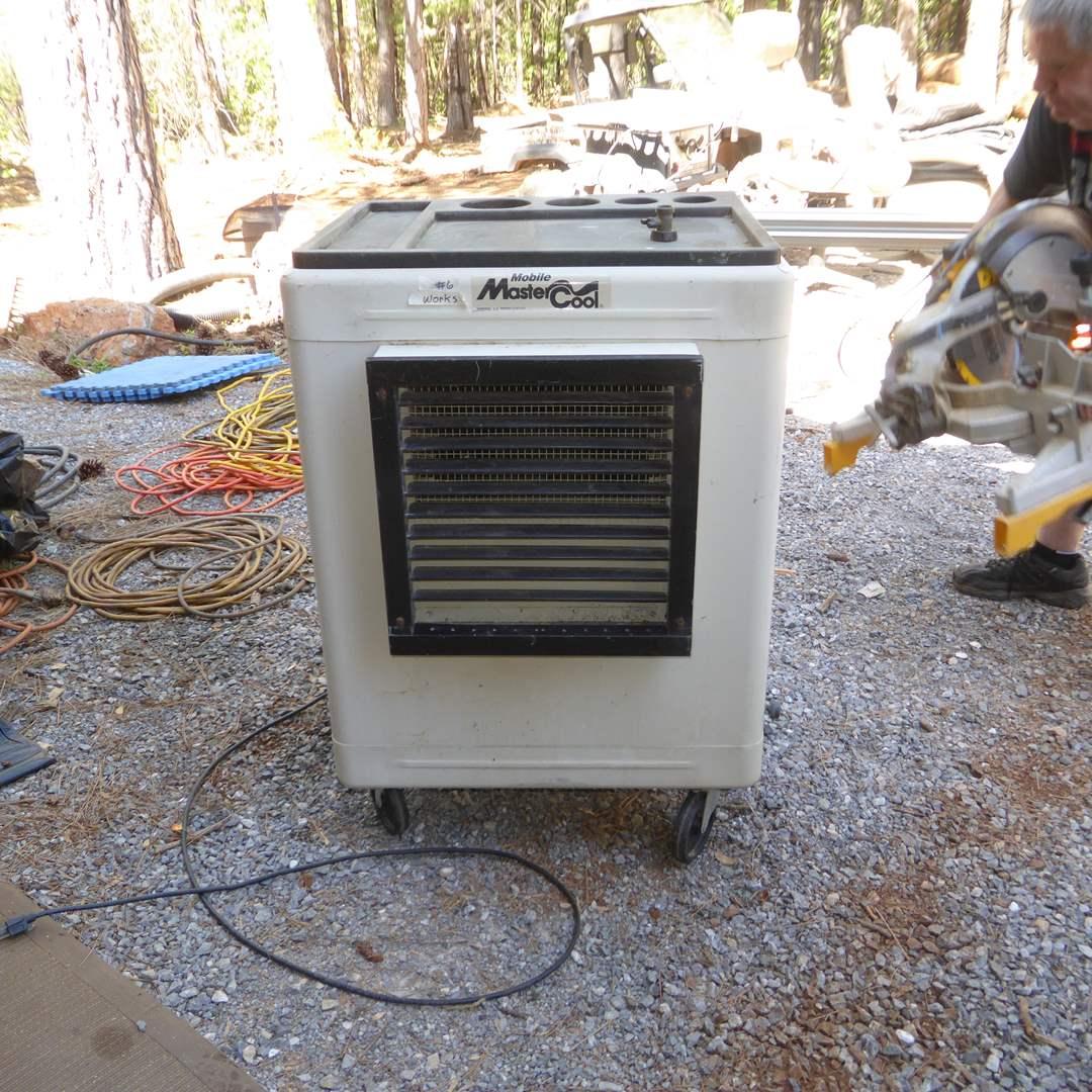 Lot # 6 - Mobile Master Cool Portable Evaporative Cooler, Box Fan & Heaters