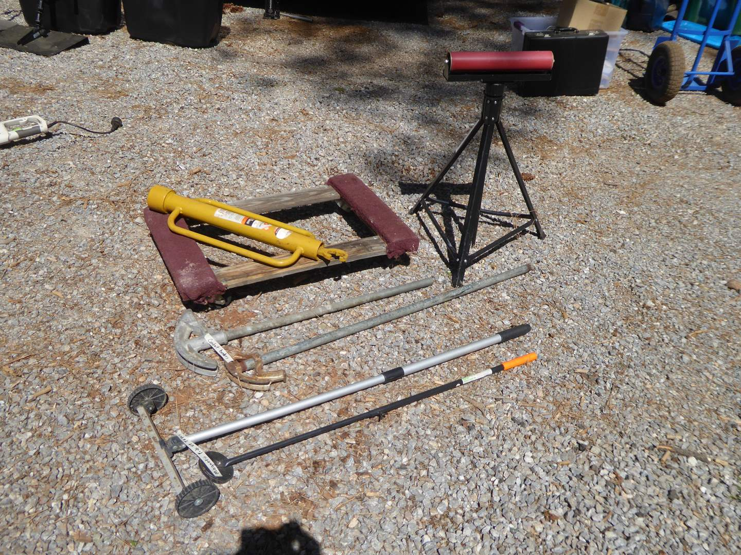 Lot # 11 - Conduit Benders, Magnetic Pick Up Tools, Post Driver & Roller