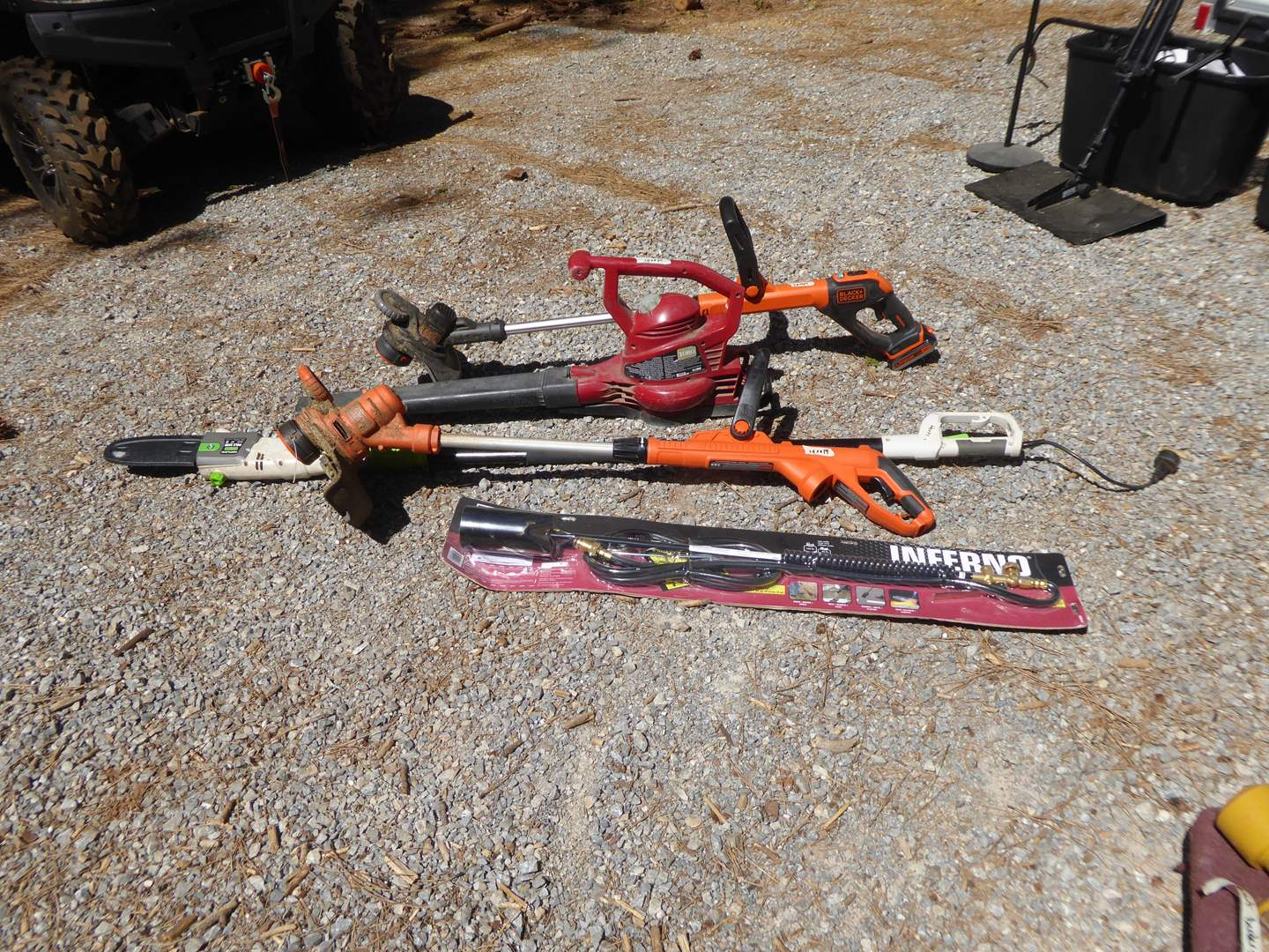 Lot # 12 - Propane Torch, Electric Trimmer, Battery Powered Trimmer & Electric Pole Saw