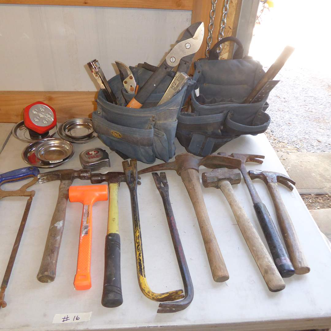 Lot # 16 - Tool Belt, Hammers & Magnetic Trays