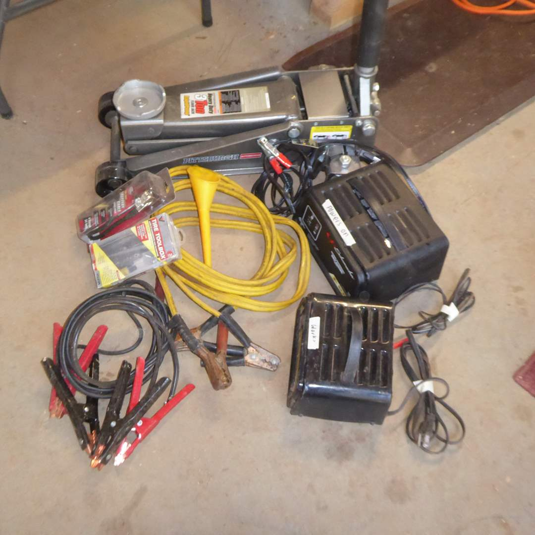 Lot # 18 - 3 Ton Floor Jack, Battery Chargers & Jumper Cables  (main image)