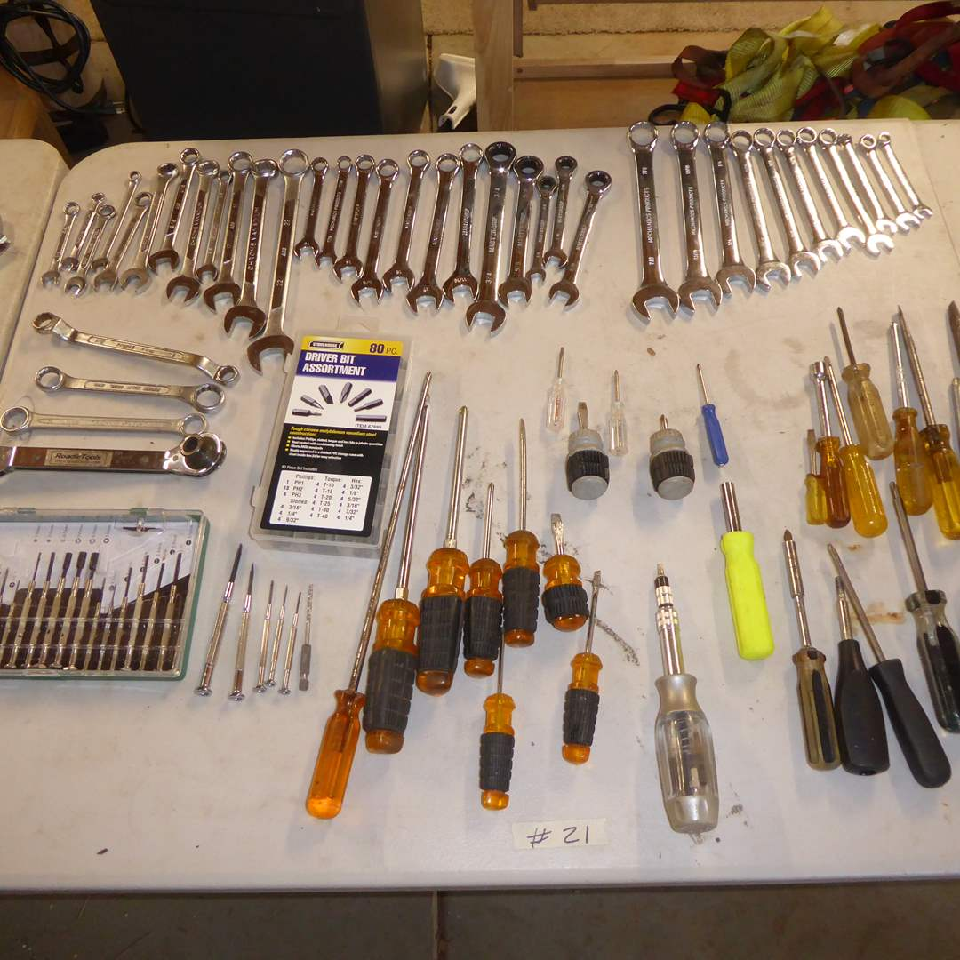 Lot # 21 - Combination Wrenches, Screwdrivers & Driver Bits  (main image)