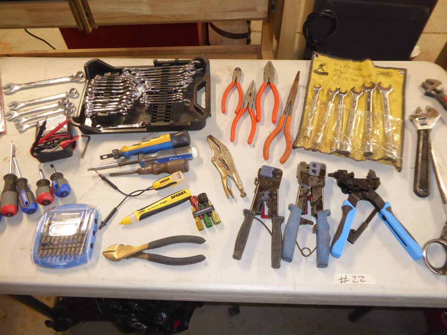 Lot # 22 -Wrenches, Screwdrivers, Phone Plug Pliers & More