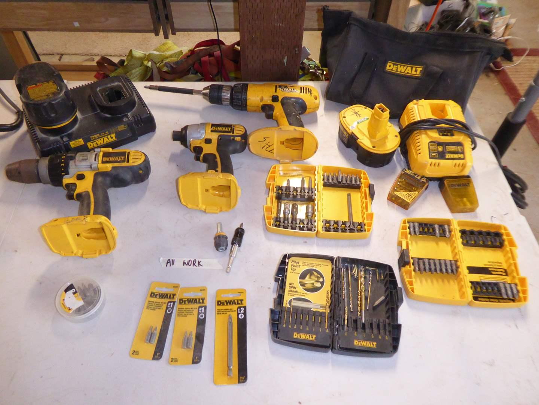 Lot # 34 - DEWALT Tool Lot - Drill Drivers, Impact Driver, Drill Bits, Batteries & Chargers