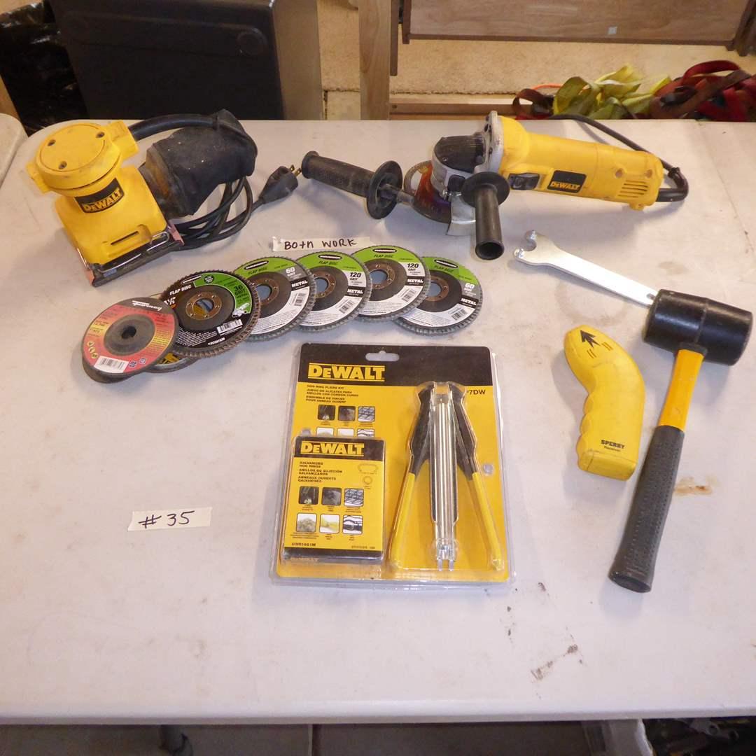 Lot # 35 DeWAlt Palm Grip Sander, Angle Grinder & Hog Ring Pliers  (main image)