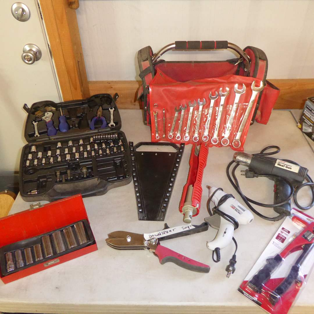 Lot # 36 - Heat Gun, Rivet Tool, Downspout Snips & Wrenches